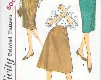 Waist 25 26 or 28 UNCUT-Simplicity 3196 1960s A line and Fitted Skirts with Hip Pockets Vintage Sewing Patterns