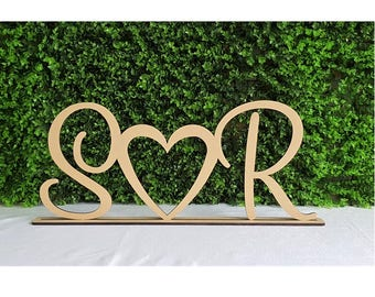 Personalised custom wedding initials heart freestanding wooden letters sign