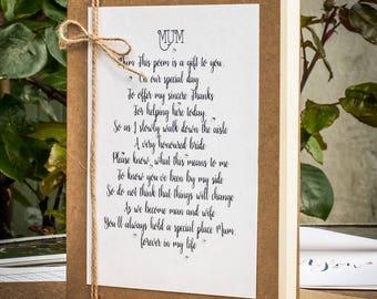 Hochzeit Gedicht von der Braut zu ihrer Mama, Mama Gedicht Geschenk, Mutter Gedicht Karte, Mutter der Braut-Karte, Hochzeitskarte, Geschenk für Mama, Geschenk für Mama