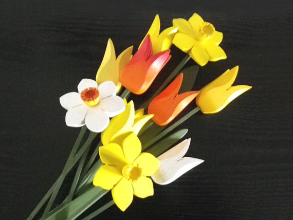 Spring Bouquet, tulips, daffodils, narcissus, flowers, handcrafted wooden decoration