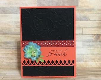 Thank you card, blank inside, flower, orange, greeting card