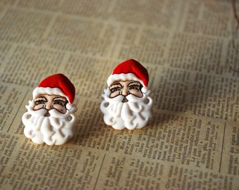 Santa Claus Earrings -- Santa Claus Studs, Red and White