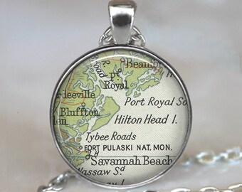 Hilton Head Island, South Carolina map pendant, Hilton Head map necklace, Hilton Head map pendant, keychain key chain key ring