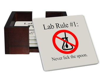 Lab Rules Coaster Set - Sandstone Tile with Cork Back - 4 Piece Set -  Wood Box Caddy Included