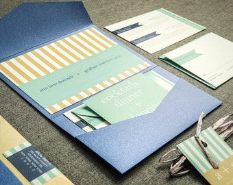 "Mr and Mr Invitations, Mint and Navy Wedding Invitations, Destination Wedding Invitation, Striped Pocketfold - ""Preppy Chic"" PF-NL-v1 SAMPLE"