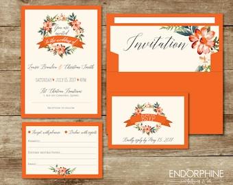 Invitation, printable wedding invitation. Invitation + RSVP card and envelope liner