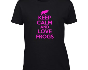 Keep Calm And Love Frogs T-Shirt Funny Frog Lover Mens Womens Youth Kids Big And & Tall