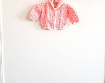 Vintage Pink Knit Baby Girl Cardigan