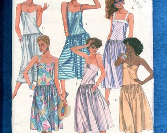 1980's McCalls 2047 Summer Sun Dresses with Drop Waist Size 6..8
