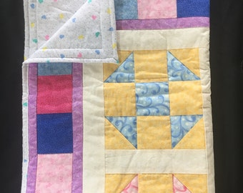 Pink and Blue Baby Girl Quilt, Baby Blanket, Stroller Blanket