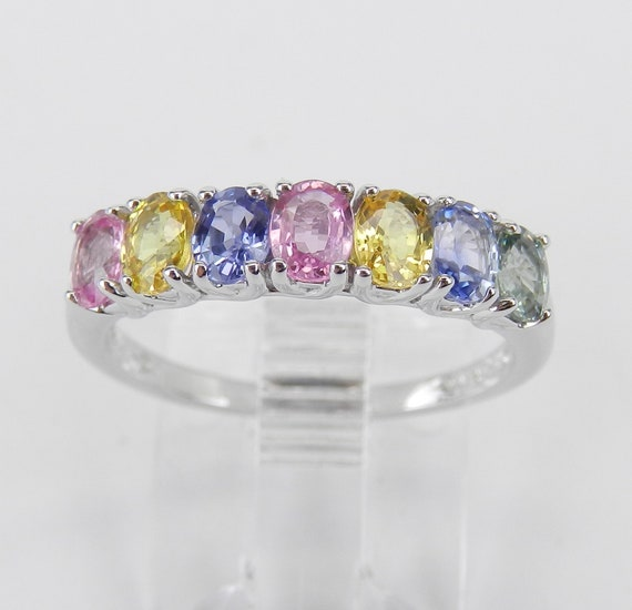 White Gold Multi Color Sapphire Wedding Ring Stackable Anniversary Band Size 6