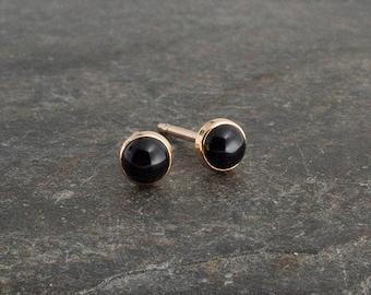 Black Onyx Stone Studs, Gold Studs, Dainty Earrings, Minimalist Earrings, Stud Earrings, Gold Handmade Earrings, Tiny Earrings, 3mm