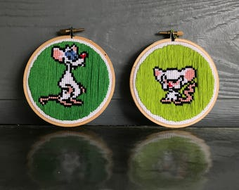 Pinky & The Brain Embroidery