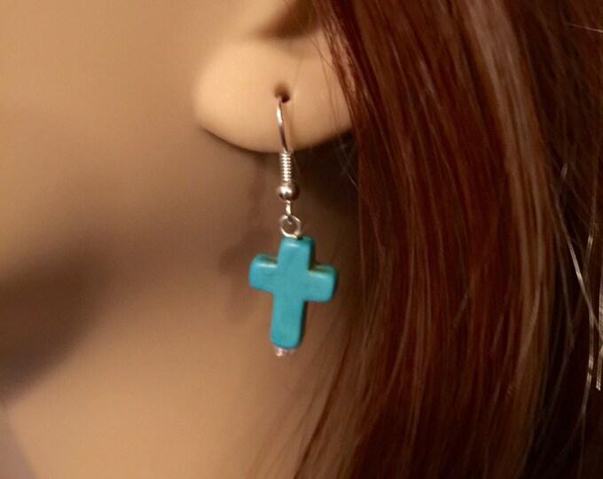 Turquoise Cross Earrings, Christian Earrings, Silver and Turquoise Cross Earrings, Gift for Her, Christian Gifts, Faith Earrings.