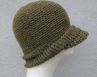 crochet jeep cap/ olive drab wool- made to order