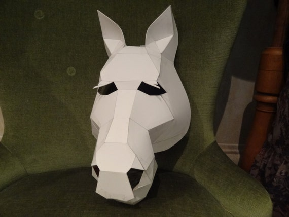 make your own horse mask from cardboard digital download diy