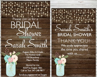 Rustic Invitation Bridal Shower Invitation Mason Jar Editable Invitation Baby Shower Invite Use as Thank You Game Instant Download BDS19