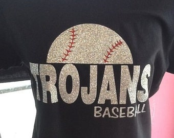 Custom Baseball spirit glitter fitted t-shirt
