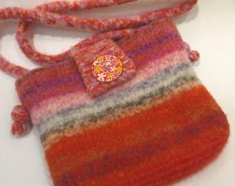 Handknit felted crossbody bag