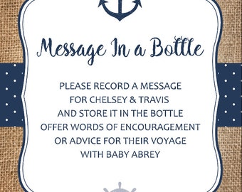 Message In A Bottle Baby Shower Card, Nautical Advice Cards For Baby Shower,  Printable DIY