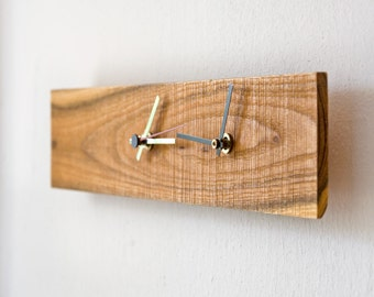 Dual Time Clock, Wooden Dual Time Zone Clock, Modern Wall Clock SAPPHO