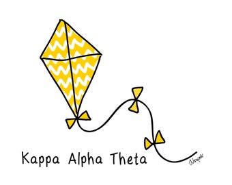 Kappa Alpha Theta Kite Sorority Notecard Set Officially Licensed