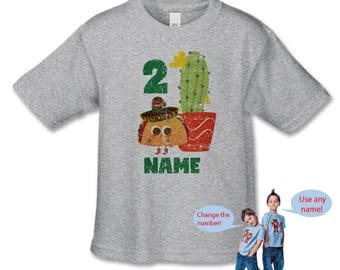 Taco Twosday Birthday Shirt, DISTRESSED Personalized 2nd Birthday Tee, Fiesta Birthday Party, Mexican Fiesta, Cumpleaños Feliz, Taco Tee
