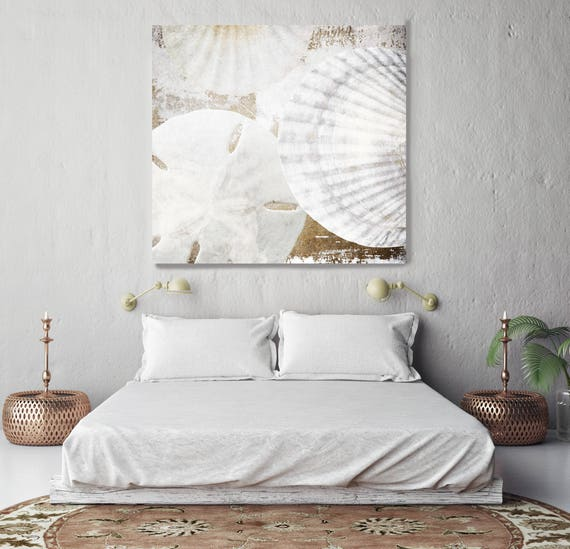 """White Shells. Shabby Chic, Cottage Chic, Beach Rustic Shells White Extra Large up to 48"""" Canvas Art Print by Irena Orlov"""