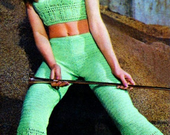 Ladies Retro Web Beach Top & Trousers - CROCHET INSTRUCTIONS - Instant Download