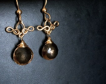 Delphina - Smoky Quartz and 14k Gold Filled Dangles