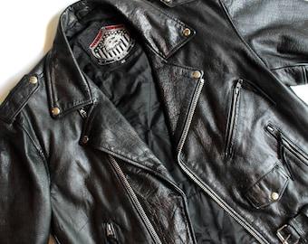 Men's Vintage Leather Biker Jacket // Men's Jacket // Black Leather Jacket // Vintage Leather // Men's Moto Jacket // 80's Fashion