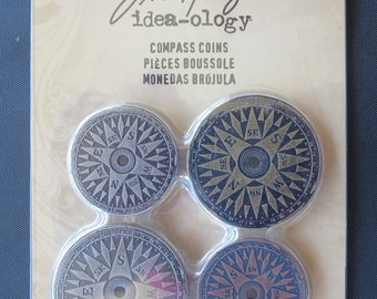 Tim Holtz Ideology Compass Coins - TH93061