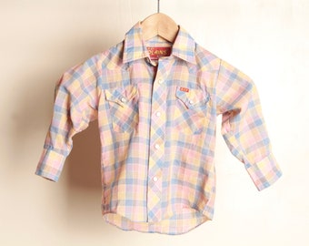 90s WRANGLER style ELY boys vintage country western garth brooks BRIGHT button up down size 5t boys girls