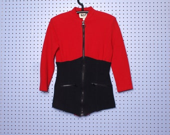 Vintage 80s Avant Garde Ribbed  Red and Black Color Block Blouse