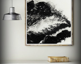 Gift for Dad Giclee Canvas Art Abstract Fine Art Print from Oil Painting Gift for Him 8x8 - 16x16, Black and White Wall Art Wall Decor