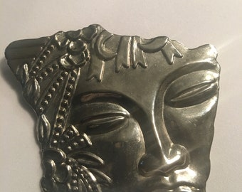 Vintage Exotic Woman's Face Brooch
