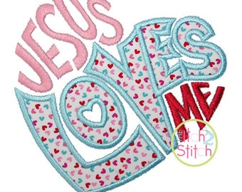 Jesus Loves Me Applique Design For Machine Embroidery, sizes 4x4, 5x7, & 6x10,  INSTANT DOWNLOAD now available