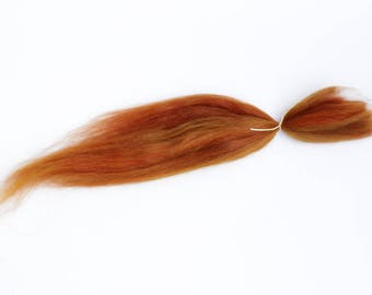 """Suri Alpaca Doll Hair dyed and combed locks, carrot C1, Batik, about 8-10"""", for reroot and BJD doll wigmaking"""
