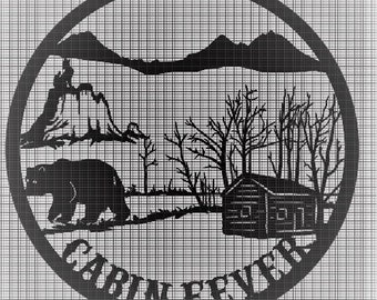 Cabin Fever, Wolf, Bear, and Cabin scene DXF File