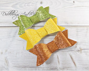 Set of 3 Glitter Hair Bows, Girl's Glitter Barrettes, Toddler Hair Clips, Lemon Yellow, Lime And Orange Bows,