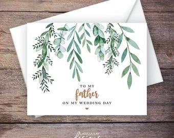 Printable Green Garden To My Father Wedding Card, Greenery, Instant Download Greeting Card, To My Dad Wedding Card – Delilah