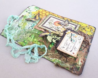Graphic 45 Nature Sketchbook art tag, handmade mixed media art tag, nature lovers gift, butterfly tag, gift tag, alkistiscreations.
