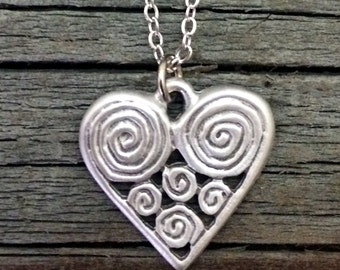 Spiral Heart Pewter Necklace