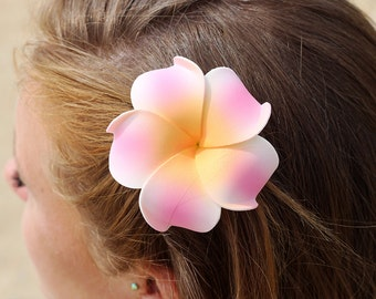 Pink Hair Clip,  Plumeria, 3 Inch  Flower,  Hair Clip,   Unique Flower,  Floral Hair Clip