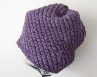 purple alpaca hat, handknit beanie cap