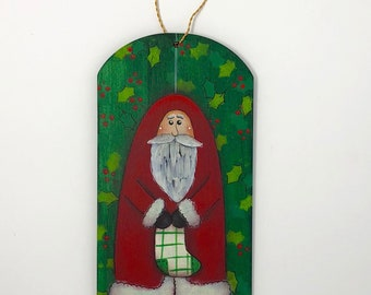 Santa Holding Stocking - Hand Painted Ornament - Wood- Green with Holly - Personalize Customize with Year for FREE!