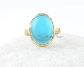 Blue Quartz Ring, London Blue Quartz 12x16mm Oval Sterling Silver Ring, Gemstone Ring, Gold Plated Ring, Engagement Gift For Bride