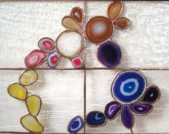 CUSTOM Stained Glass Panel with Agate Slices Stained Glass Window Panel Abstract Stained Glass Window MADE to ORDER