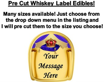 Pre Cut Whisky Label Royal Crown Pillow EDIBLE Images Personalized