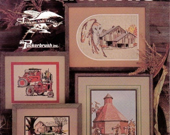 Vintage Cross Stitch Leaflet Barnyards and Tractors by Puckerbrush, Inc  Counted Cross Stitch Mens Cross Stitch